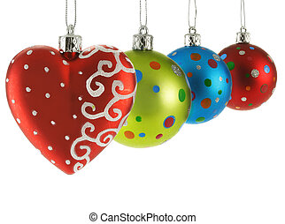 Colorful Christmas balls isolated over white background