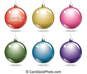 Colorful christmas balls. Set of isolated multicolor ball decorations.