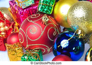 Colorful Christmas balls with gift box