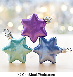 Colorful christmas baubles - Colorful star-shaped christmas ...