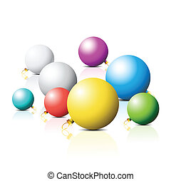 Colorful Christmas bulbs on white background
