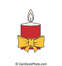 Colorful Christmas Candle Isolated on White