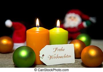 colorful christmas card, german text, merry christmas