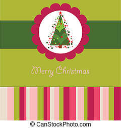 Colorful Christmas card with a tree