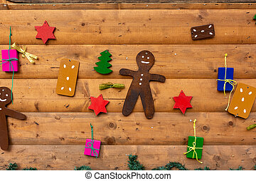 colorful christmas decoration on a wooden wall