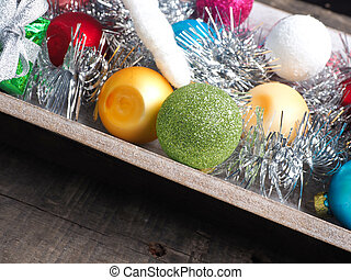 Colorful Christmas decoration on wood