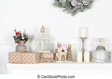 Colorful Christmas decorations on fireplace mantle