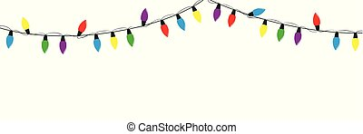 colorful christmas fairy lights decoration isolated on white background