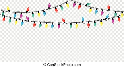 colorful christmas fairy lights decoration isolated party templa