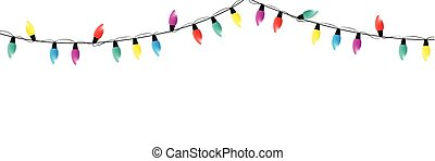 colorful christmas fairy lights decoration on white background