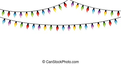 colorful christmas fairy lights isolated on white background