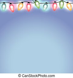 Colorful Christmas Holiday Lights on Blue Background