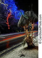 Colorful Christmas illumination in city street