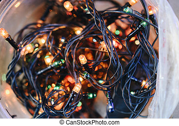 Colorful Christmas lights and party lights in viev