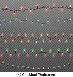 Colorful Christmas lights isolated on transparent background.