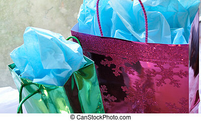 Colorful Christmas presents - Green and fuschia pink gift ...