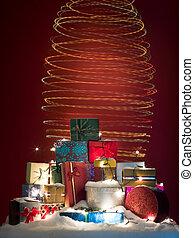 colorful christmas spiral lights