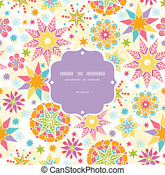 Colorful Christmas Stars Frame Seamless Pattern Background