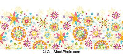 Colorful Christmas Stars Horizontal Seamless Pattern Background