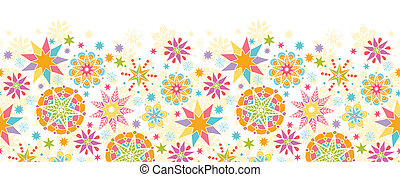 Colorful Christmas Stars Horizontal Seamless Pattern...