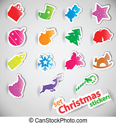Colorful christmas stickers set eps10 vector illustration