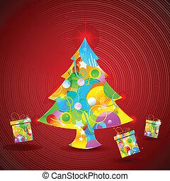 Colorful Christmas Tree and Gift