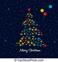 Colorful Christmas tree background. Vector.