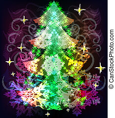 Colorful Christmas tree background with snowflake shapes.