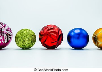 Colorful christmas tree balls on white background.