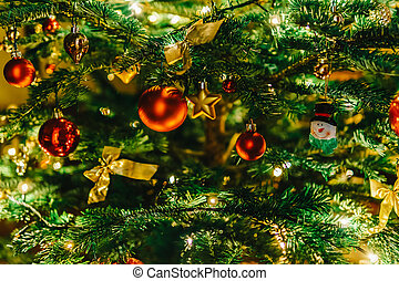 Colorful Christmas Tree Decoration in Winter