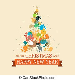 Colorful Christmas Tree. Grunge Vector Xmas Card.