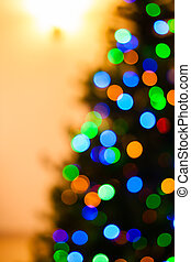 Colorful Christmas tree light bokeh