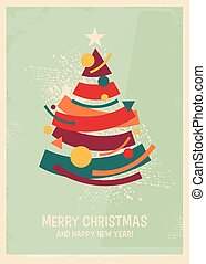 Abstract artistic Memphis style Christmas card design