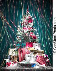 colorful christmas tree with lights