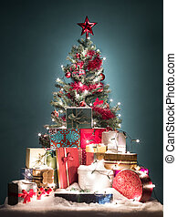 colorful christmas tree with presents