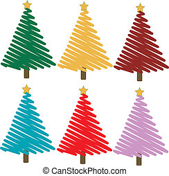 Colorful christmas trees vector