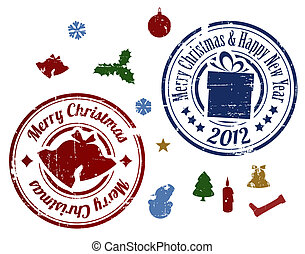 colorful Christmas Vector stamps