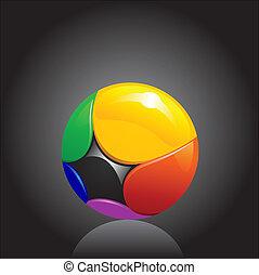 colorful chrome ball logo element