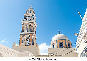 Colorful church in Santorini