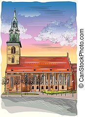 Colorful Church of St. Mary in Berlin