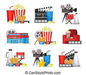 Colorful Cinema Elements Set