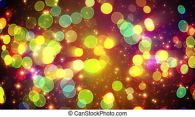 colorful circle bokeh lights and particles loop - colorful...