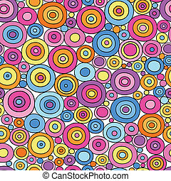 Colorful Circle Doodles Seamless Pattern Psychedelic Groovy Notebook Doodle Design- Hand-Drawn Vector Illustration Background
