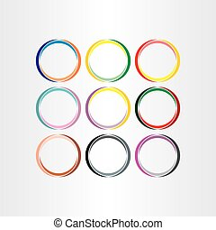colorful circle frames set vector elements