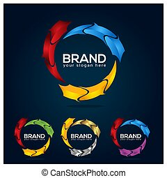 Colorful circle logo template. Vector illustration on white background.