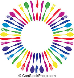 Colorful circled cutlery. - Cutlery icons. Colorful cutlery...