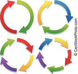 Colorful Circular Arrows Set with 2, 3, 4, 5 Segments. Arrows following a circle path.