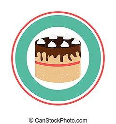 colorful circular border with cake birthday