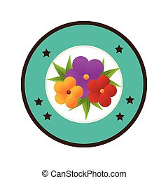colorful circular border with flowers bouquet