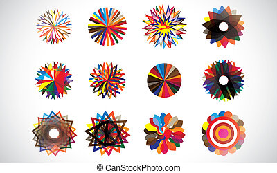 Colorful circular concentric geometric shapes made of repeating patterns. Artwork managed by layers. AI EPS 10 vector file.